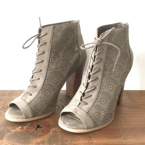 Call it Spring Lace up Open Toe Booties